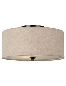Stirling 14 In. W 2 Light Burnt Sienna Flush Mount With Beige Linen Drum Shade by Sea Gull Lighting