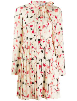 Arrow Print Pleated Dress by Red Valentino