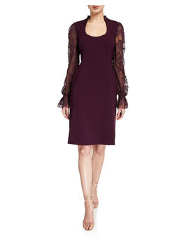 Diva Scoop Neck Embroidered Blouson Sleeve Dress by Elie Tahari