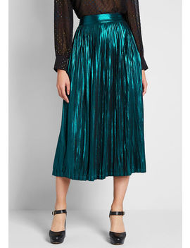 My Time To Shine Metallic Midi Skirt by Modcloth
