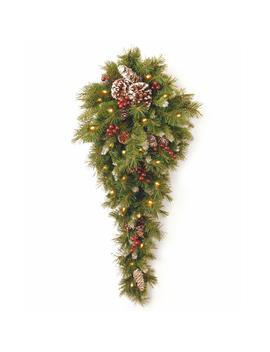 Frosted Berry 36 In. Teardrop With Battery Operated Warm White Led Lights by National Tree Company