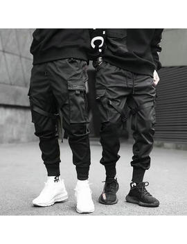 2019 Hip Hop Boy Multi Pocket Elastic Waist Design Harem Pant Men Streetwear Punk Casual Trousers Jogger Male Dancing Black Pant by Ali Express.Com