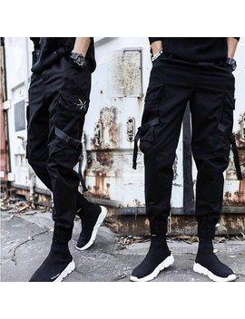 2019 New Style Casual Pants Men Cotton Streetwear Hip Hop Black Mens Joggers Pants Multi Pockets Man Trousers by Ali Express.Com