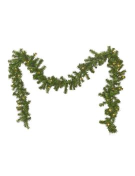 9 Ft. Noble Fir Battery Operated Pre Lit Clear Led Artificial Christmas Garland by Noble House