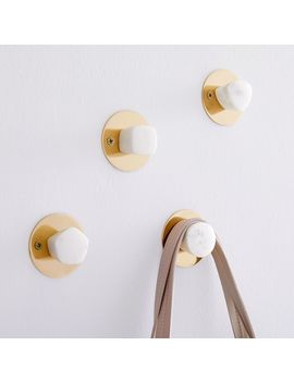 Marble + Brass Wall Hooks (Set Of 4) by West Elm