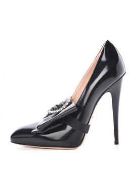 Gucci Nappa Charlotte Removable Bow Pumps 36 Black by Gucci