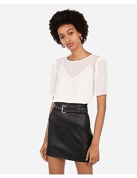 High Waisted Faux Leather Belted Mini Skirt by Express