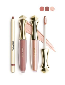 All Day Matte 3 Piece Lip Color & Gloss Set   Nude by Mirenesse