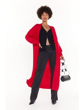Check Knit Out Balloon Sleeve Longline Cardigan by Nasty Gal
