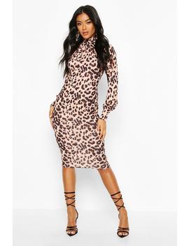 Leopard Roll Neck Midi Dress by Boohoo