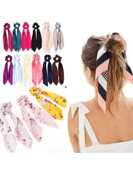 Diy Solid/Floral Print Bow Satin Long Ribbon Ponytail Scarf Hair Tie Scrunchies Women Girls Elastic Hair Bands Hair Accessories by Ali Express.Com