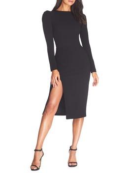 Nadia Long Sleeve Scoop Back Midi Dress by Dress The Population