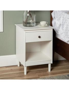 Classic Mid Century Modern 1 Drawer White Solid Wood Nightstand Side Table by Walker Edison Furniture Company