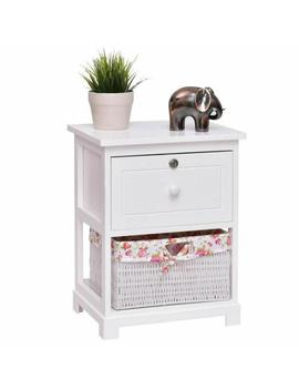 1 Drawer White Nightstand 2 Tiers Wood 1 Basket Bed Side End Table Organizer White by Costway