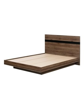 Queen Flam Complete Bed Natural Walnut/Matte Black   South Shore by Shop This Collection