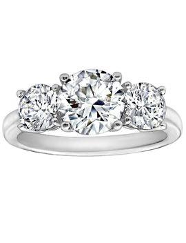 Diamonique 3.50 Cttw 3 Stone  Ring, Platinum Clad by Round Cut
