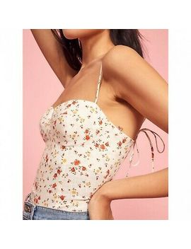 Reformation Nwt White Magnolia Top Floral Womens Size 2 Tie Strap Bustier Cami by Cami