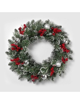"""24"""" Mixed Snow And Glitter Flocked Pine Wreath   Gerson International by Gerson International"""