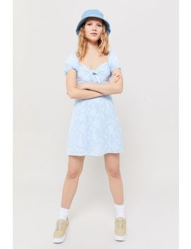 Uo Novara Tie Front Puff Sleeve Mini Dress by Urban Outfitters