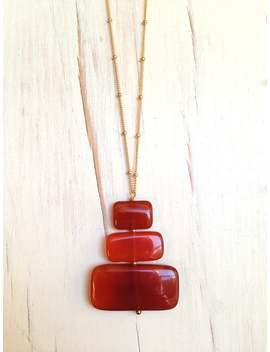 Carnelian Necklace Carnelian Slab Contemporary Gold Filled Necklace Gemstone Jewelry by Etsy