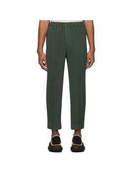 Khaki Light Pleated Trousers by Homme PlissÉ Issey Miyake