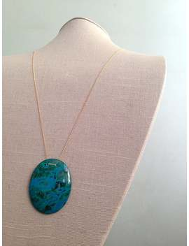 Chrysocolla Pendant Necklace Chrysocolla Necklace Chrysocolla Jewelry by Etsy