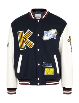 Leather And Wool Blend Bomber Jacket by Kenzo