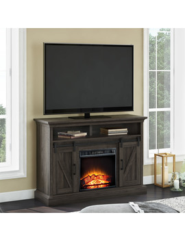 "Whalen Allston Barn Door Media Fireplace For 55"" T Vs Up To 135 Lbs Warm Brown Finish by Whalen Furniture"