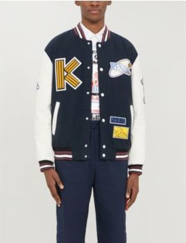 Appliquéd Wool And Leather Varsity Jacket by Kenzo