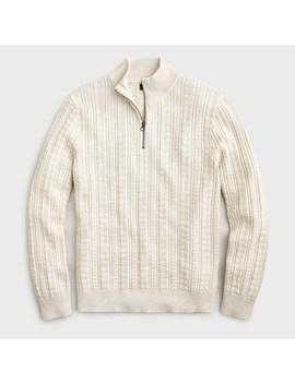 Cotton Half Zip Sweater In Guernsey Stitch by J.Crew