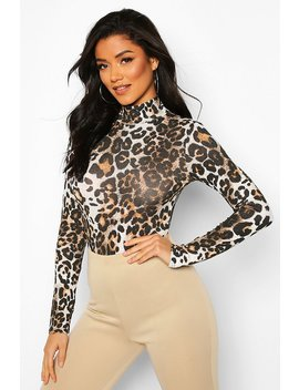 High Neck Leopard Long Sleeve Bodysuit by Boohoo