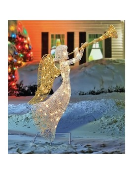 "Northlight 48"" Lighted Glittered Silver And Gold Trumpeting Angel Christmas Outdoor Decoration by Northlight"