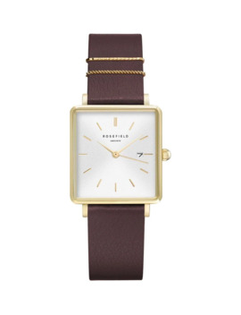 The Boxy Goldtone Stainless Steel & Nubuck Leather Strap Watch by Rosefield