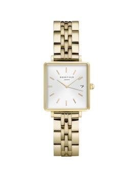 Mini Boxy Goldtone Stainless Steel Bracelet Watch by Rosefield