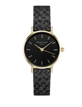 Black Dial Patterned Leather Strap Analog Watch by Rosefield
