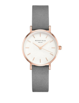 White Dial Grey Leather Strap Analog Watch by Rosefield
