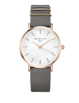 Analog West Village Tri Tone Leather Strap Watch by Rosefield