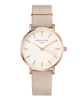Analog West Village Rose Goldtone Leather Strap Watch by Rosefield