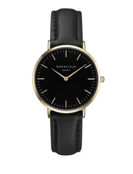 The Tribeca Analog Goldtone Leather Strap Watch by Rosefield
