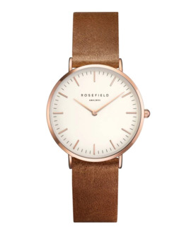The Tribeca Analog Rose Goldtone Leather Strap Watch by Rosefield