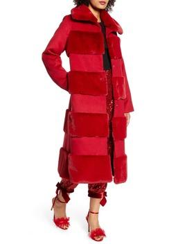 X Atlantic Pacific Faux Fur Tiered Stripe Long Coat by Halogen®