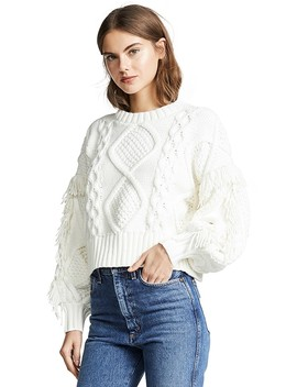 Jasper Fringe Cable Knit Sweater by Line &Amp; Dot
