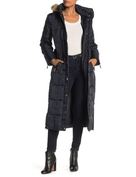 Long Box Quilted Faux Fur Trimmed Hooded Coat by Michael Michael Kors