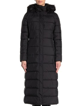 Quilted Faux Fur Trim Hood Long Puffer Jacket by Calvin Klein