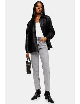 Black Acid Wash Straight Jeans by Topshop