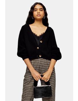Black Knitted Super Cropped Cardigan by Topshop