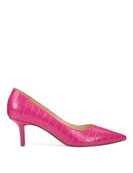 Arlene Pointy Toe Pumps   Dark Pink Emboss Croco by Nine West