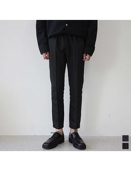 Seoul Homme   Drawstring Waist Pinstriped Dress Pants by Seoul Homme
