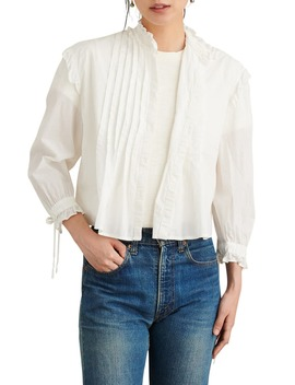 Pleated Bib Ruffle Voile Top by Alex Mill