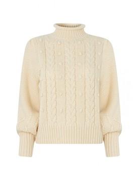Giulia Cream Cable Knit Jumper by Kitri